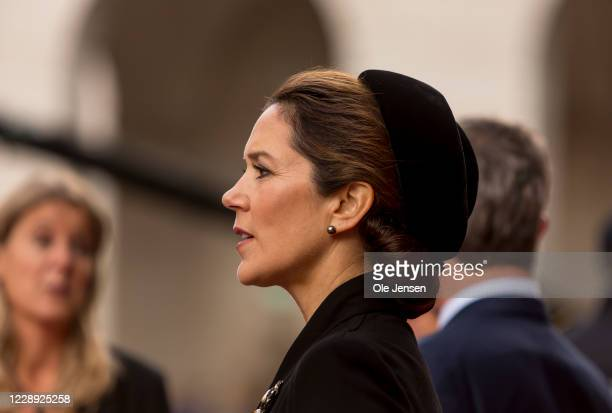 Crown Princess Mary of Denmark arrive at the stairs to Parliament where they are welcomed by Speaker of the House, Henrik Dam Kristensenm and the...