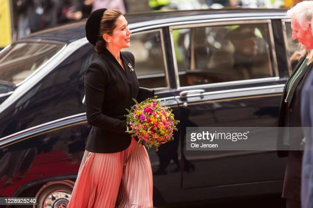Crown Princess Mary of Denmark arrives at Christiansborg Palace on October 6, 2020 in Copenhagen, Denmark. Parliament opens for the coming year by...