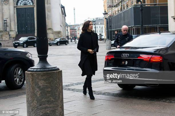 Crown Princess Mary of Denmark arrives at Christiansborg Palace Church to attend the coffin of her deceased fatherinlaw on February 17 2018 in...