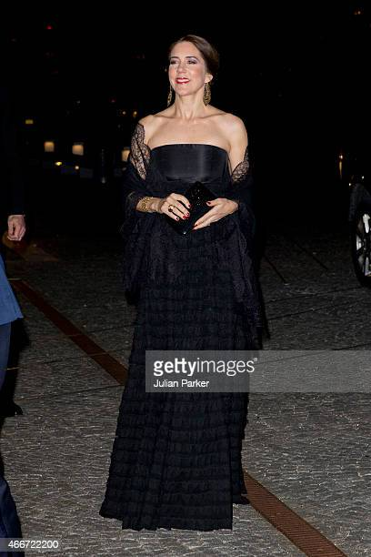 Crown Princess Mary of Denmark arrives at The Black Diamond in Copenhagen where King WillemAlexander and Queen Maxima of the Netherlands host a...