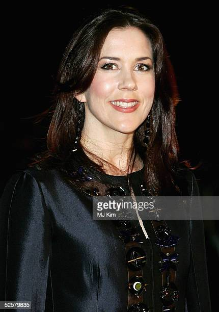 Crown Princess Mary of Denmark arrives at the Once Upon A Time gala performance the main event of the Hans Christian Andersen Bicentenary...