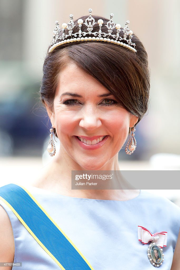 Crown Princess Mary of Denmark, arrives at The Royal Chapel, at The Royal Palace in Stockholm for The Wedding of Prince Carl Philip of Sweden and Sofia Hellqvist on June 13, 2015 in Stockholm, Sweden.