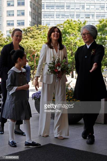 Crown Princess Mary of Denmark arrives at the Seoul Museum of History for attending opening reception of the exhibition 'H.C. Andersen and...
