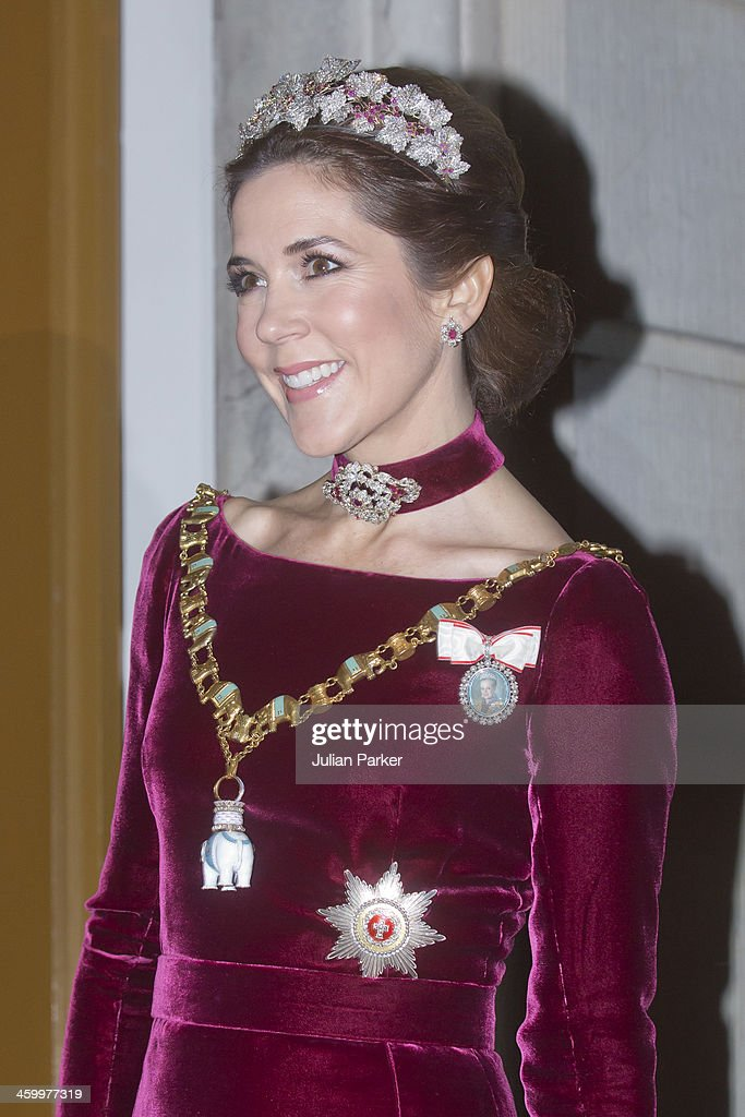 Crown Princess Mary of Denmark arrives at the Traditional New Year's Banquet hosted by Queen Margrethe of Denmark, at, Amalienborg Palace, on January 1, 2014 in Copenhagen, Denmark.