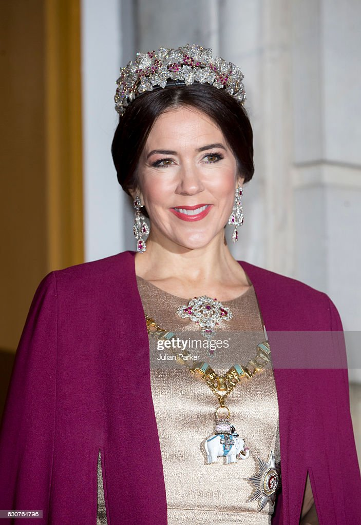 Crown Princess Mary of Denmark arrives at the Traditional New Year's Banquet hosted by Queen Margrethe of Denmark, at, Amalienborg Palace, on January 1, 2017, in Copenhagen, Denmark.