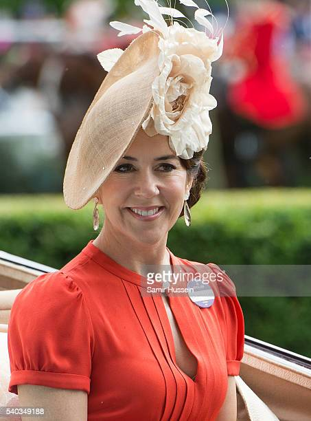 Crown Princess Mary of Denmark arrives by carrieage for day 2 of Royal Ascot at Ascot Racecourse on June 8 2016 in Ascot England