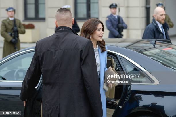 Crown Princess Mary of Denmark arrives for the official welcome ceremony at the Presidential Palace on November 25 2019 in Warsaw Poland The Danish...