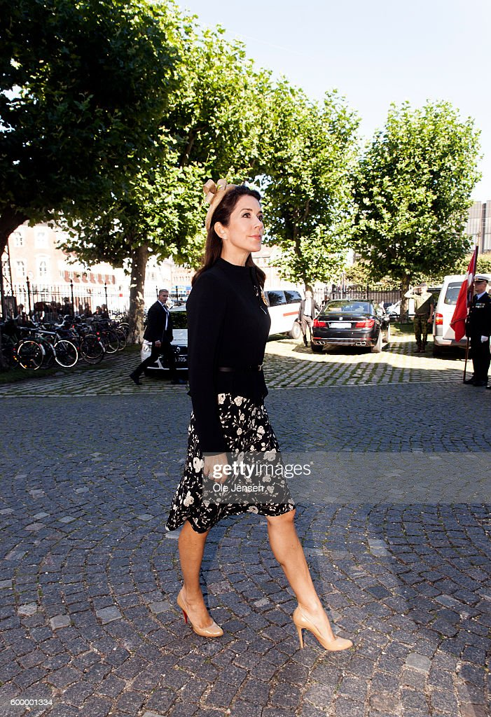 Crown Princess Mary of Denmark arrives to attend the Flag Day ceremony for international deployed military personnel, veterans and those lost in action in Holmens Kirke (read: Church of Holmen) next to the Parliament on September 05, 2016 in Copenhagen, Denmark.