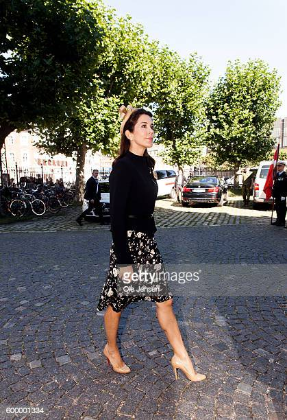 Crown Princess Mary of Denmark arrives to attend the Flag Day ceremony for international deployed military personnel veterans and those lost in...