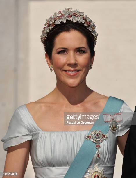 Crown Princess Mary of Denmark arrives to attend the wedding between Prince Joachim of Denmark and Marie Cavallier on May 24, 2008 at the Mogeltonder...