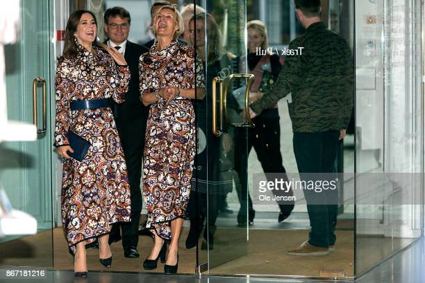 Crown Princess Mary of Denmark arrives to Magasin du Nord Fashion Prize 2017 award ceremony together with Nina WedellWedellsborg board member at the...