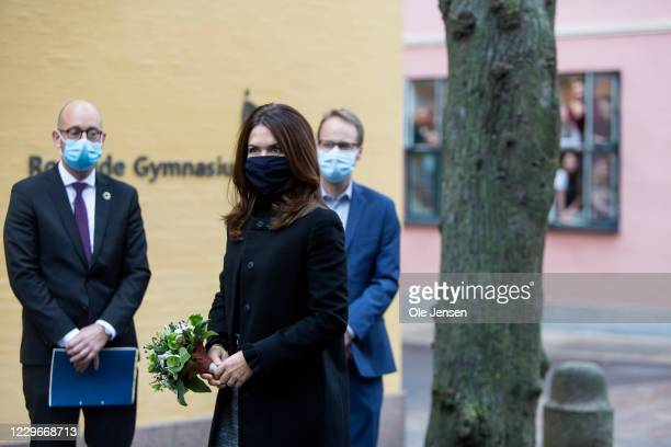 Crown Princess Mary of Denmark arrives to Roskilde Gymnasium on November 18, 2020 in Roskilde, Denmark. The school is participating in UNESCO...