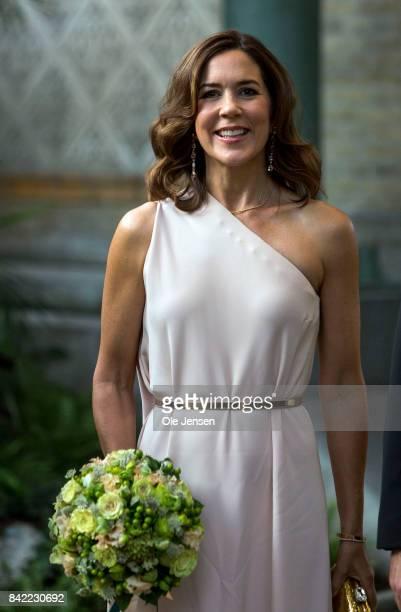Crown Princess Mary of Denmark arrives to the Carlsberg Foundation prize ceremony at the Glyptotek on September 3 2017 in Copenhagen Denmark The...