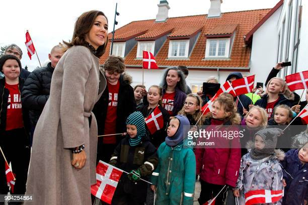 Crown Princess Mary of Denmark arrives to the Christmas Seal Foundation home opening on January 12 2018 in Roskilde Denmark The Crown Princess is the...