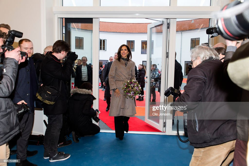 Crown Princess Mary of Denmark (C) arrives to the Christmas Seal Foundation home opening on January 12, 2018 in Roskilde, Denmark. The Crown Princess is the patron of the Christmas Seal Foundation where labels are placed on mail during the festive period to help raise money for underprivileged children, through the sale of the annual Christmas Seal. Children suffering from psychological issues are then able to stay in one of the six homes in Denmark, for a period of up to 10 weeks to help them rehabilitate.