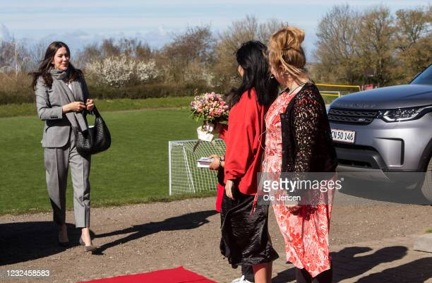 Crown Princess Mary Of Denmark arrives to the UNFPA's State Of World Population Report Release at Gerlev Sports High School on April 22, 2021 in...