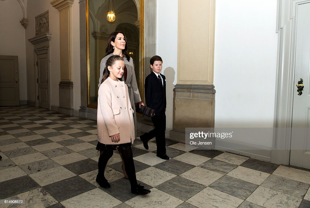 Crown Princess Mary of Denmark arrives with her children Princess Isabella of Denmark and Prince Christian of Denmark arrive for a reception hosted by Queen Margarethe of Denmark for the Danish Olympic and Para-Olympic Teams at Christiansborg on October 14, 2016 in Copenhagen, Denmark. The Crown Princess arrived without her husband, Crown Prince Frederik of Denmark, as the Crown Prince just had an accident. During the arrival of the guests to the reception the Royal Court's press officer announced to the waiting media that the Crown Prince had an accident following trampolining which caused a fracture in his spine and he had to cancel his participation at the reception and will wear a neck collar for the next 12 weeks. This caused some comments from the Queen during her reception speech.