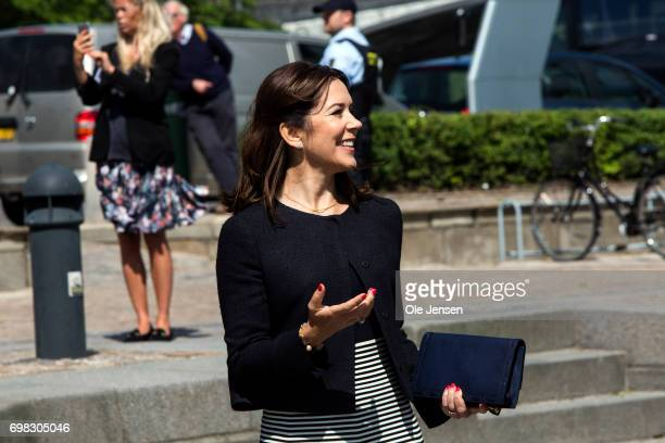 Crown Princess Mary of Denmark as seen at the harbour where she and visiting Cron Prince Naruhito of Japan will take a boat trip through the channels...