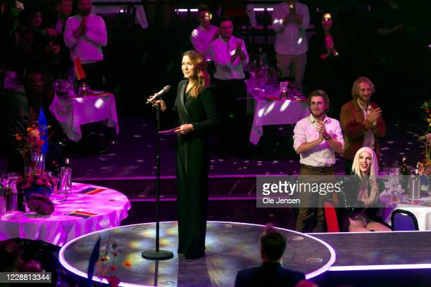 Crown Princess Mary of Denmark at stage for presenting one of the prizes at the annual Danish Rainbow Awards at Cirkusbygningen on September 30, 2020...
