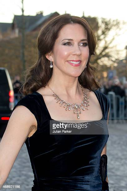 Crown Princess Mary of Denmark attends a Gala Night to mark the forthcoming 75th Birthday of Queen Margrethe II of Denmark at Aarhus Concert Hall on...