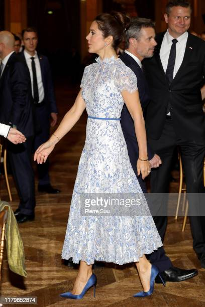 Crown Princess Mary of Denmark attends a Grand dinner at the Town Hall on October 08 2019 in Paris France