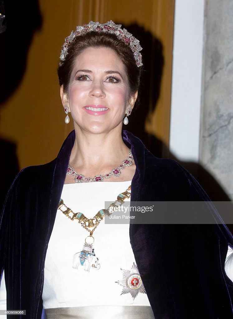 Crown Princess Mary of Denmark attends a New Years Levee and Banquet at Christian VII's Palace on January 1, 2015 in Copenhagen, Denmark.