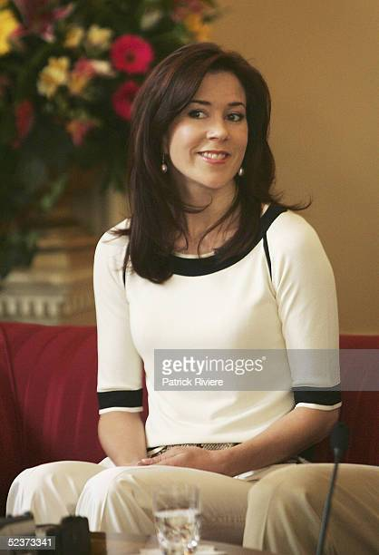 Crown Princess Mary of Denmark attends a press conference at the Hobart Government House March 11 2005 in Hobart Australia