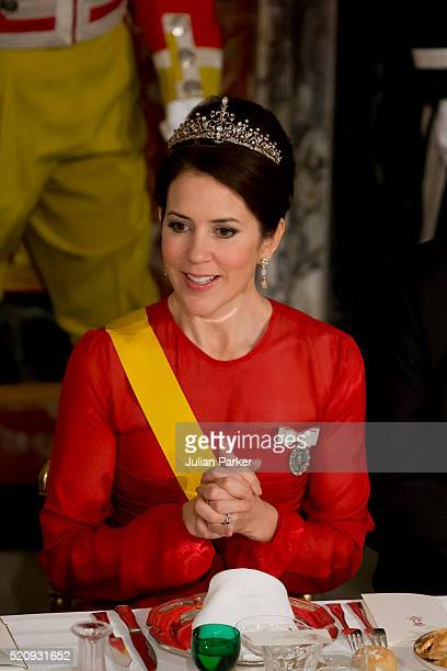 Crown Princess Mary of Denmark attends a State Banquet at Fredensborg Palace on the first day of a State visit of the President of The United Mexican...