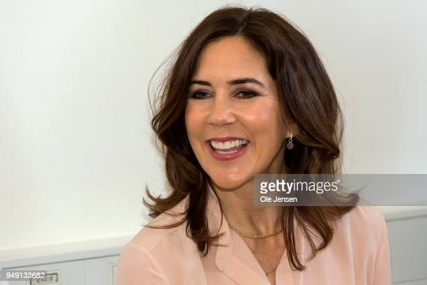 Crown Princess Mary of Denmark attends opening of the new crisis center for women at Danish Women's Society on April 20 2018 in Copenhagen Denmark...