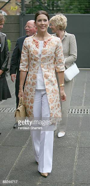 Crown Princess Mary of Denmark attends SustDANEable Architecture Exhibition at Danish Embassy on June 24 2008 in London England