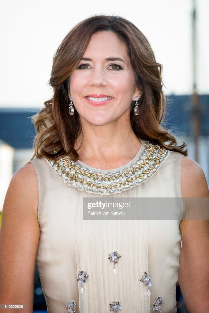 Crown Princess Mary of Denmark attends the 18th birthday celebration of Prince Nikolai at royal ship Dannebrog on August 28, 2017 in Copenhagen, Denmark.