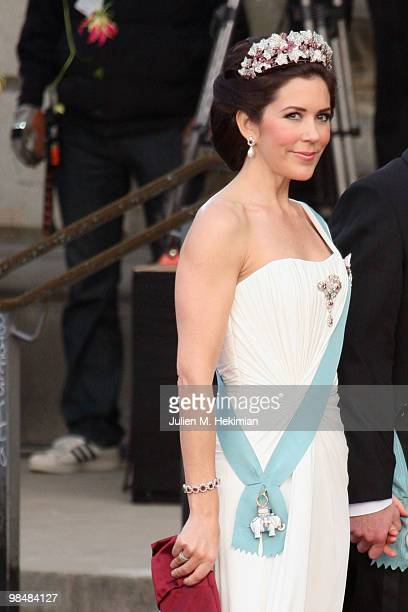 Crown Princess Mary of Denmark attends the Gala Performance in celebration of Queen Margrethe's 70th Birthday on April 15, 2010 in Copenhagen,...