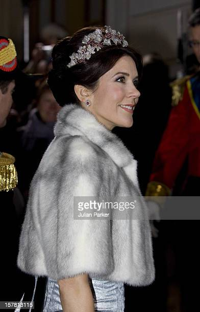 Crown Princess Mary Of Denmark Attends The Traditional New Year Gala Dinner At Amalienborg Palace In Copenhagen Denmark