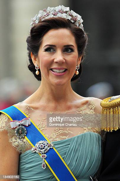 Crown Princess Mary of Denmark attends the wedding of Crown Princess Victoria of Sweden and Daniel Westling on June 19 2010 in Stockholm Sweden