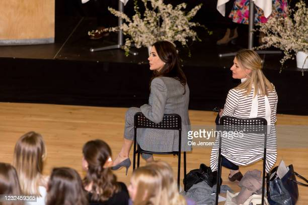Crown Princess Mary Of Denmark attends UNFPA's State Of World Population Report Release at Gerlev Sports High School on April 22, 2021 in Slagelse,...