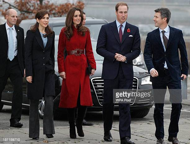 Crown Princess Mary of Denmark Catherine Duchess of Cambridge Prince William Duke of Cambridge and Crown Prince Frederik of Denmark arrive for a...