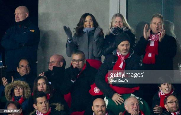 Crown Princess Mary of Denmark celebrates the winning goal of Denmark during the international friendly match between Denmark and Panama at Brondby...