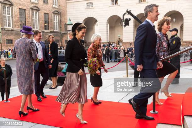 Crown Princess Mary of Denmark, Crown Prince Frederi and Princess Benedikte arrive at the stairs to Parliament where they are welcomed by Speaker of...