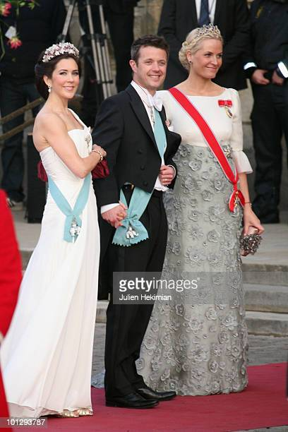 Crown Princess Mary of Denmark, Crown Prince Frederik of Denmark and Crown Princess Mette-Marit of Norway attend the Gala Performance in celebration...