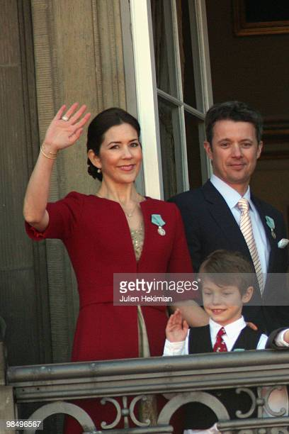 Crown Princess Mary of Denmark Crown Prince Frederik of Denmark and Prince Felix attend Queen Margrethe's 70th Birthday Celebrations at Amaienborg...