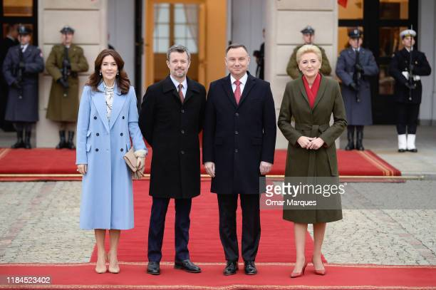 Crown Princess Mary of Denmark Crown Prince Frederik of Denmark President of Poland Andrzej Duda and his wife Agata Duda pose for a portrait during...
