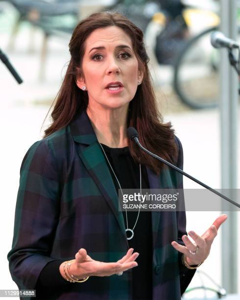 Crown Princess Mary of Denmark delivers her remarks at the SXSW House of Scandanavia on March 11 2019 in Austin Texas