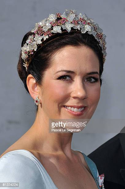 Crown Princess Mary of Denmark depart after they attended the wedding between Prince Joachim of Denmark and Princess Marie of Denmark, Countess of...
