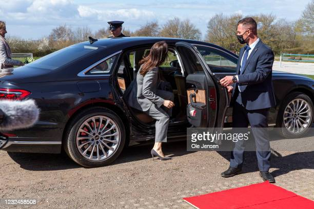 Crown Princess Mary Of Denmark departs from UNFPA's State Of World Population Report Release at Gerlev Sports High School on April 22, 2021 in...