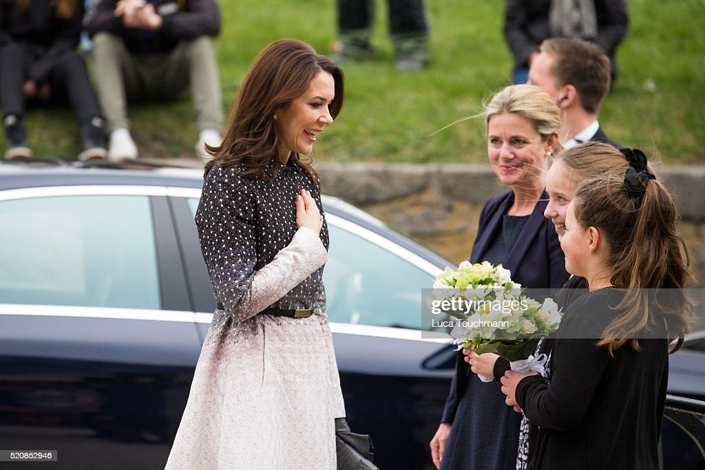 Crown Princess Mary of Denmark during a visit from the United Mexican States on April 13, 2016 in Helsingor, Denmark.