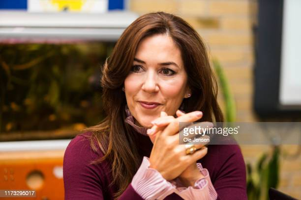 Crown Princess Mary of Denmark during a visit to a school class at Frydenhoejskolen near Copenhagen where the kids work with a project about death on...