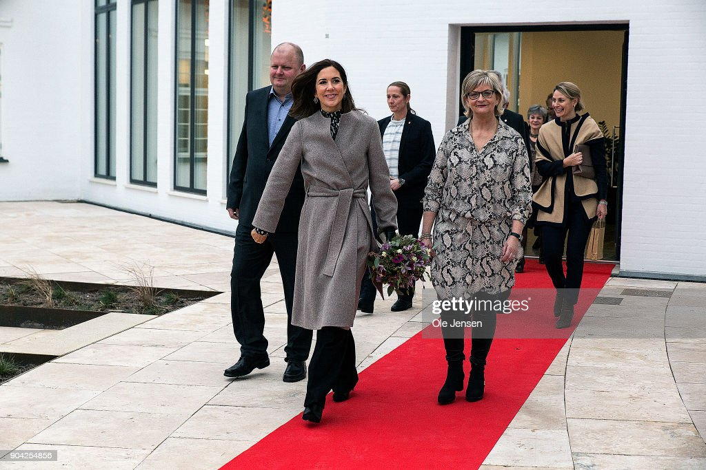 Crown Princess Mary of Denmark (C) during her visit to at The Christmas Seal Foundation's home opening on January 12, 2018 in Roskilde, Denmark. The Crown Princess is the patron of the Christmas Seal Foundation where labels are placed on mail during the festive period to help raise money for underprivileged children, through the sale of the annual Christmas Seal. Children suffering from psychological issues are then able to stay in one of the six homes in Denmark, for a period of up to 10 weeks to help them rehabilitate.