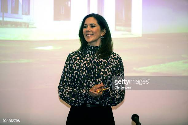 Crown Princess Mary of Denmark during her visit to The Christmas Seal Foundation's home opening on January 12 2018 in Roskilde Denmark The Crown...