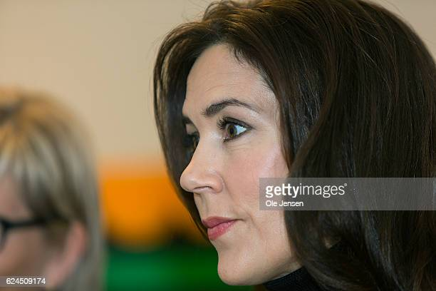 Crown Princess Mary of Denmark during her visit to the Danish Mother's Aid's new family council house on November 18 2016 in Copenhagen Denmark