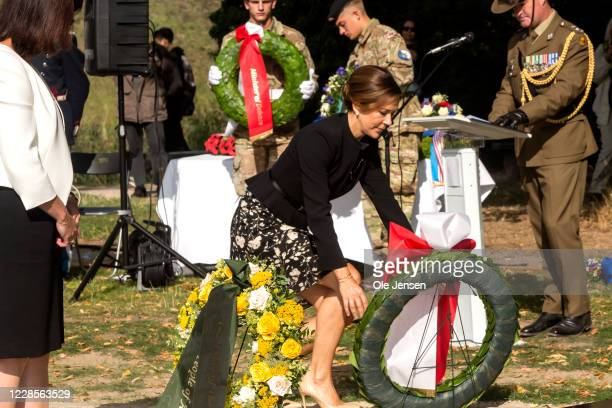 Crown Princess Mary of Denmark during her wreath laying at the official inauguration of the Australian War Monument at the Churchill Memorial Park on...